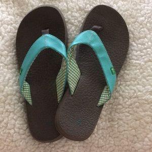 Sanuk Yoga Mat flip flops size 7, turquoise